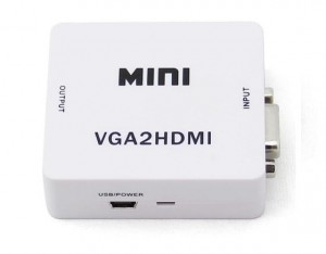 Konwerter adapter sygnału VGA do HDMI audio FULL HD