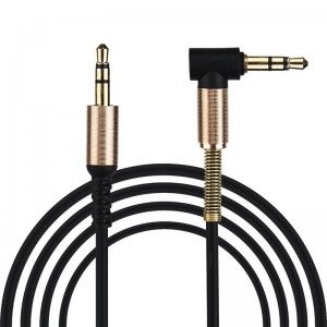 Kabel AUX mini jack 3,5mm wtyk kątowy gold 1m